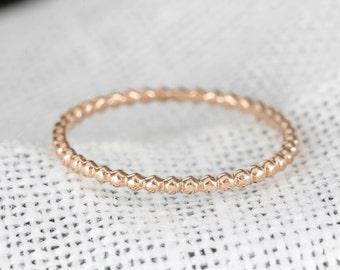 14k 18k rose gold bead ring 1.5mm, stack ring, wedding ring, wedding band, simple wedding ring, gold, white gold, stack-r103
