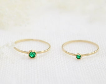 14k gold emerald stackable ring, tiny emerald ring, 2mm or 3mm, may birthstone ring, 14k yellow, rose, white gold, dal-r101-2mm-eme