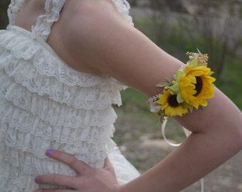 Sunflower & Baby's Breath Wrist Corsage - Bun Wreath- baby's breath, sunflowers, rosebuds - Wrist or Arm Wedding Corsage- Sunflower Corsage