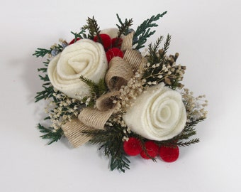Christmas Wedding Corsage, Prom Flowers, Wrist Corsage, Pin On Corasge, Felt Flower, Off White, Cream, Rustic Christmas, Winter Holiday