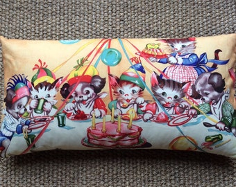 Ruth E Newton Kitten Party Illustrated fabric Cushion With Interior 50cmx26cm