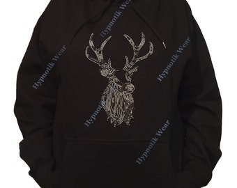 "Rhinestone Women's Pullover Hoodie "" Deer in Rhinestuds and Nail Heads "" Sweatshirt Sm to 3X"