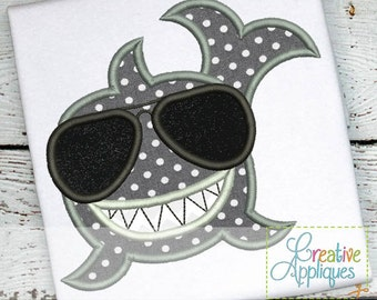 Shark Sunglasses Digital Machine Embroidery Applique Design 4 Sizes, shark applique, shark embroidery, whale applique, whale embroidery