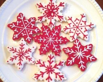 Snowflake Cookies | Christmas Cookies | Holiday Cookies | Winter Cookies | Let It Snow Party | Christmas Cookie Exchange | One Dozen