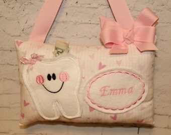 Personalized Tooth Fairy Pillow - Tooth Pillow - Childs Tooth Fairy PIllow - Girls Tooth Fairy Pillow - Pink Pillow - Girls Tooth Pillow