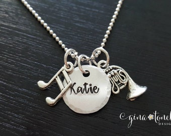 Musical Instrument Necklace, Personalized Marching Band Necklace, Band Geek, Music Necklace, Violin, Flute, Trumpet, Clarinet, Sax, Drum Set
