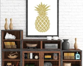 Pineapple Wall Art, Psych Art, Yellow Pineapple, Pineapple Art, Art Prints, Printable Wall Art, Psych TV Show, Digital Download, Pineapple