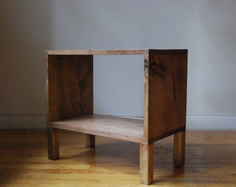 Record Holder, Rectangle table, Side Table, Nightstand with narrow legs made from reclaimed wood- Walnut