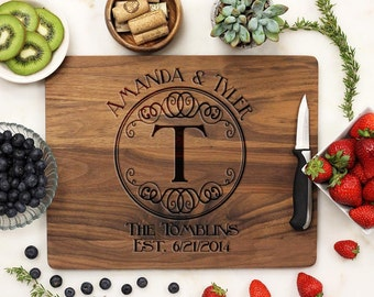 Personalized Cutting Board, Custom Engraved Cutting Board, Monogram Family Name, Housewarming Anniversary, Walnut Wood --21032-CUTB-002
