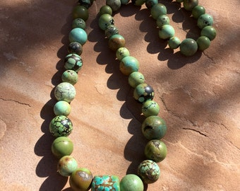 Chinese turquoise necklace with vintage chunky turquoise feature bead