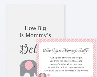 Baby Shower Games - How Big is Mommy's Belly Game, Elephant Baby Shower, Printable Shower Games - Guess how big mommys belly - Pink Elephant