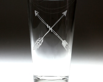 Custom personalized crossed arrows engraved glass