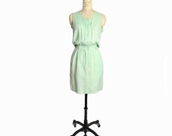 Vintage Mint Green Silk Dress / Sleevess Mint Dress / Pastel Green - women's 1 / XS