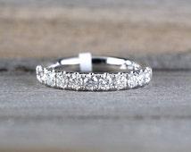 14k White Gold Diamond Large Anniversary Wedding Engagement Love Ring Band