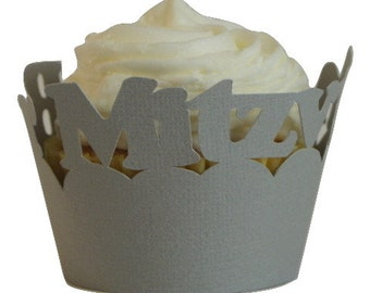 Gray Bar Mitzvah Cupcake Wrappers, 12pcs, Bar Mitzvah, Gray Texture, Cupcake Decor, Handcrafted Party Decor, Party Supplies