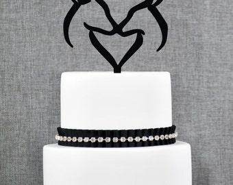 Buck and Doe Heart Wedding Cake Topper, Romantic Deer Cake Wedding Cake Topper, Hunter Theme Wedding Cake Topper- (T254)