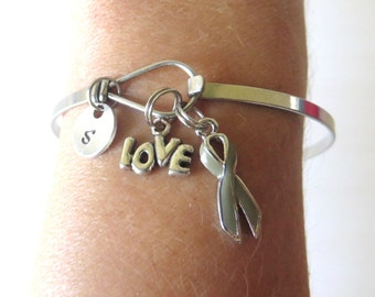 Grey LOVE HOPE Customizable Awareness Charm Stainless Steel Bangle Bracelet With Optional Love Hope and Letter Charm