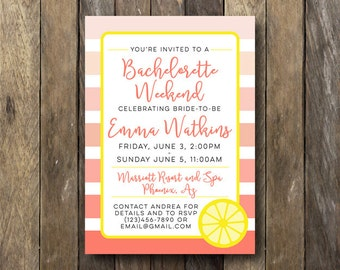 Bachelorette Weekend Invite - Printable Bachelorette Party Invite - Bridal Shower Invitation - Bachelorette Weekend Invitation