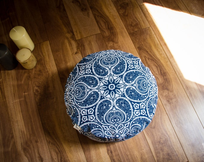 Pouf Zafu Blue Mandala Meditation cushion cotton organic Buckwheat washable floor pillow with lining handmade by Creations Mariposa ZP-MB