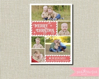 Christmas Card, Holiday Card, Classic Christmas Card, Candy Cane Christmas Card, Stripe, Multiple Pictures, Holiday Christmas Card, Photo