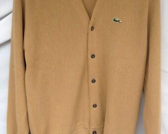 Vintage IZOD LACOSTE Sweater Mens Large Mustard Brown Cardigan