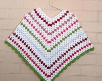 handmade crochet mexican poncho, crochet kids poncho, granny square kids poncho, OOAK girl poncho, shrug, birthday, christmas gift,