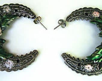 Vtg Pierced Earrings Flower Hoop Pink/Green Enamel Pewtertone Filigree
