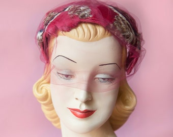 1950's -60's Velvet Bow with Feathers Veiled Hat