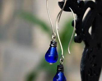 Simple silver earrings  Cobalt Blue glass earrings Artisan Lampwork Cute earrings Long hook earrings Modern jewelry Long drop earrings