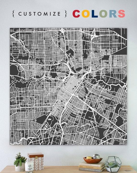 Map of Houston large canvas city maps