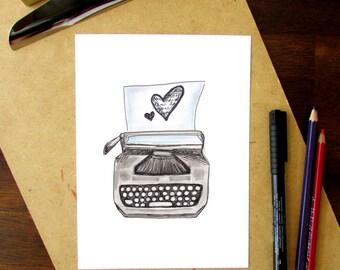 Printable wall art, printable typewriter illustration, writer lovers printable, hand drawn vintage typewriter, instant download