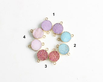 Druzy Connectors -- With Electroplated Gold Edge Handmade Drusy Geode Charm Wholesale YHA-024