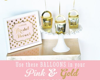 Bridal Shower Ideas - Bridal Shower Centerpiece Bridal Balloons Pink and Gold Balloons Gold Heart Balloons  (EB3110HRT) - SET of 3 Balloons