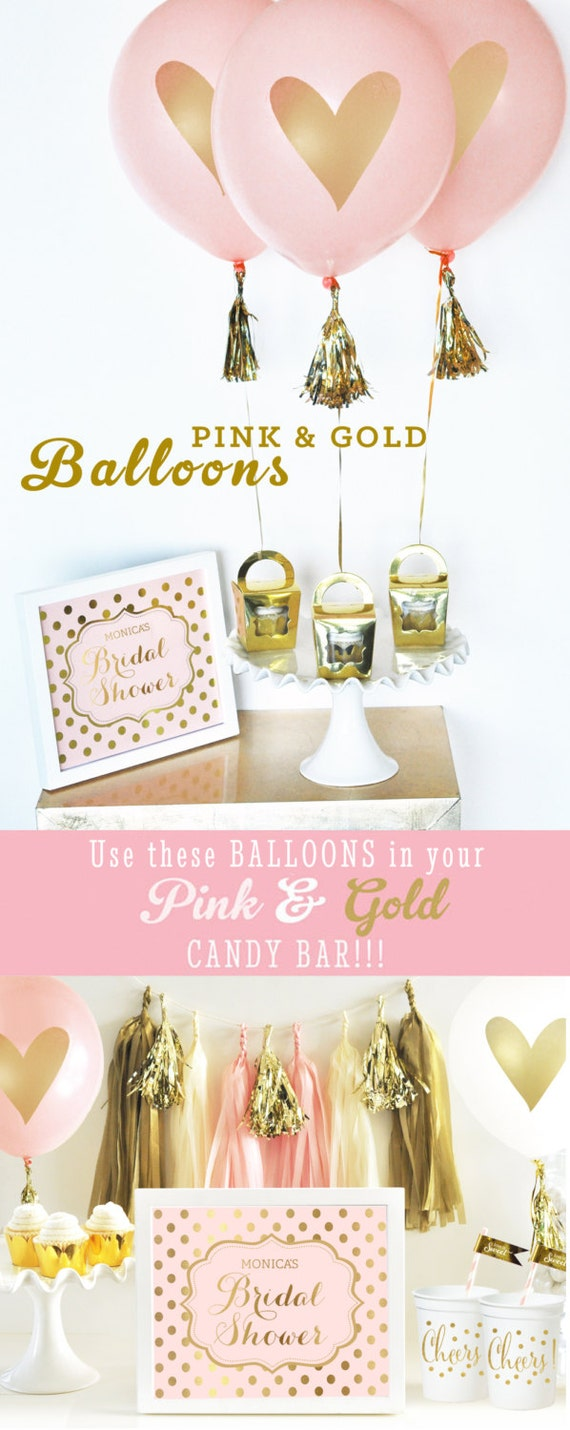 Bridal shower decorations pink and gold bridal shower for Pink and gold bathroom decor