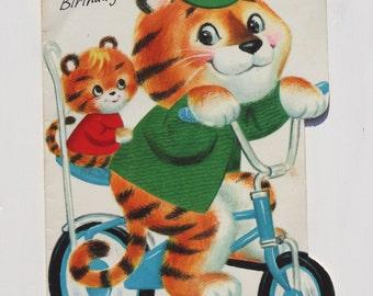 Tiger, Kitsch greetings, 1970s, vintage card, die cut card, grandpa birthday, chopper bike, baby animal, cute card, paper ephemera