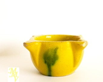 Antique mortar, ceramic mortar, spanish ceramic, yellow, green, Mallorca