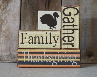 Thanksgiving stackable wood blocks