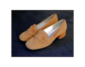 Like new! Vintage loafers shoes heels Suede brown beige Size EU 36,5 US 6 UK 3,5