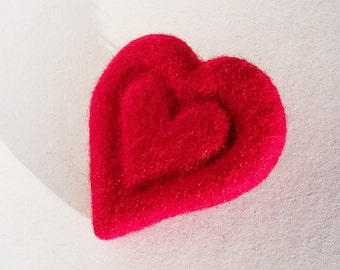 Soft  Wool Hand Felted Red Heart Pin Brooch Christmas Valentine's Mother Day Present Gift
