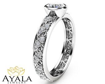 Natural Diamond Engagement Ring  Bezel Ring in 14K White Gold Unique Diamond Engagement Ring