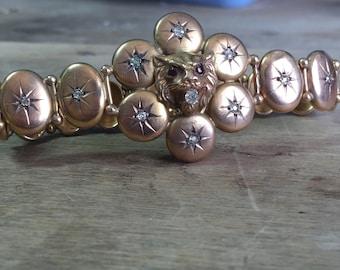 Vintage 9ct yellow gold diamond bracelet