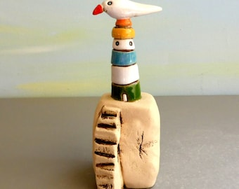 Little ceramic lighthouse , Colorful whimsical gift , Unique sculpture of pastel lighthouse , gift for men , gift for mom , mothers day gift