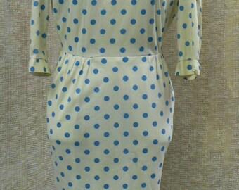 Vintage Julie Miller of California blue and cream polka dot wiggle dress size 4