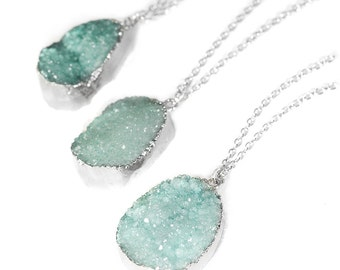 Pastel Turquoise Crystal Druzy Necklace - Silver Boho Chunky Rough Raw Pendant Quartz Stone- Silver Dipped Jewelry -Healing Stones -Gift