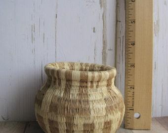 Small Woven Grass Basket- Vintage Woven Basket- Natural Grass Basket