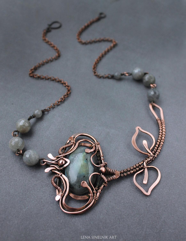 Wirewrap Labradorite Pendant Wire Wrapped Jewelry Handmade Jewelry