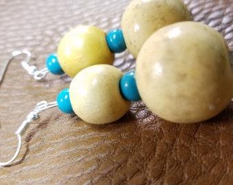 Wood and turquoise  bead earrings