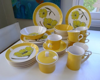 Vintage 33 piece set of 70s Mikasa Duplex Duet China by Ben Seibel, Yellow Poppies Setting