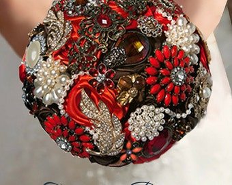 Autumn Brooch Bouquet, Fall Brooch Bouquet, Rustic Brooch Bouquet, Handmade Roses Bouquet, Bridal Bouquet, Ready to Ship