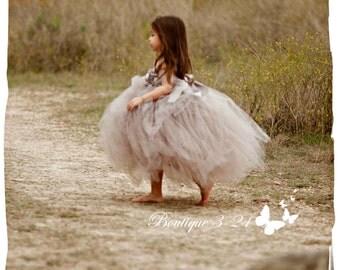Gray Flower Girl Dress, Gray tutu dress, Grey Flower Girl Dress, Grey tutu dress, Silver Flower Girl Dress, Silver Tutu Dress, Gray, Silver
